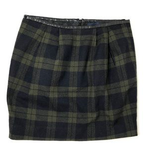 GAP Wool Plaid Mini Skirt w/ Faux Leather Trim